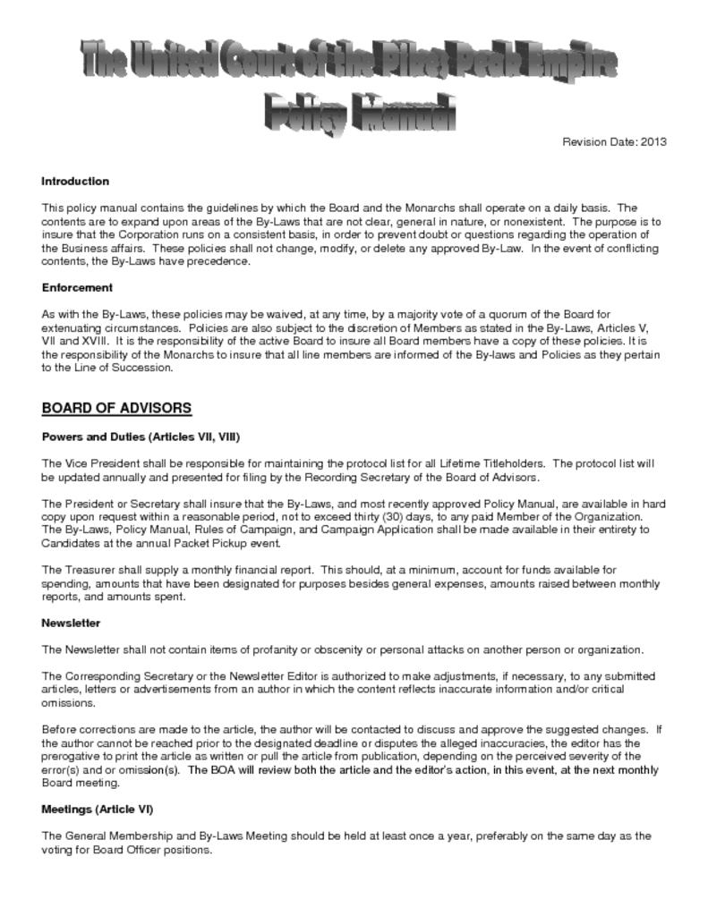 thumbnail of Policy Manual